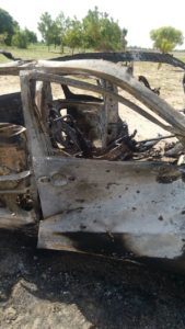 Boko Haram vehicle destroyed by Nigerian last week in Borno State