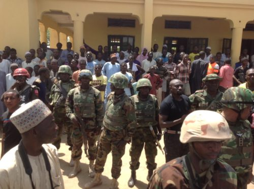 Nigerian troops deployed to a local community in Borno after suicide Bombing