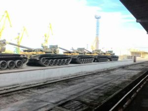 T72 computerised tanks destined for Nigeria on the loading   bay