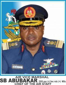 Chief of Air Staff, SB Abubakar with caption