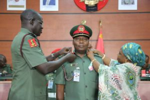 COAS, Gen Buratai decorates Brigadier General Sani Kukasheka Usman with Brigadier General Rank