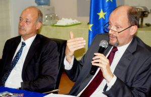 PIC. 16. MINISTER COUNSELLOR, EUROPEAN UNION DELEGATION TO NIGERIA AND ECOWAS, MR HENRY FRANKERD (L), WITH THE HEAD OF THE DELEGATION, AMB. MICHEL ARRION, AT A MEDIA INTERACTION IN ABUJA ON MONDAY (9/12/13).