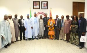 Senate President Bukola in a group photograph with a delegation from CCC
