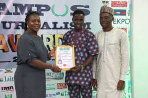 Okerinmodun Faith Olusegun Receives Campus Journalism AWard CJA 2018 for News Reporter
