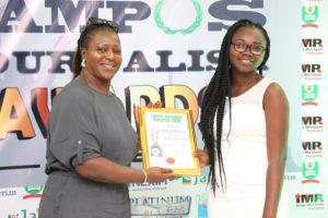 Akor Janet O. Receives Campus Journalism AWard CJA 2018 for Entertainment Writer