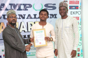 Olatunji Haleem Receives Campus Journalism AWard CJA 2018 for Features Writer