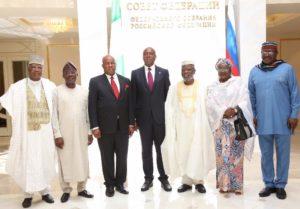 Senate President Saraki with Nigerian legislators after addressing Russian Parliament