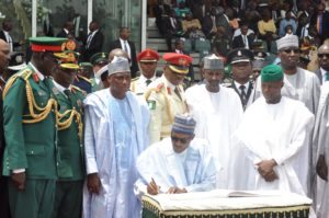 President Buhari and Service Chief at Independence Day Celebration