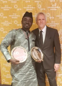 Yushau Shuaib of PRNigeria with President IPRA Bart de Vries after receiving two Golden World Awards in Barcelona