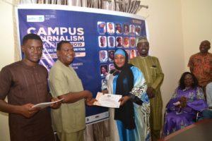 CJA Dr. Theo Abba present Finalist Certificate to Fatima Abbas from University of Maiduguri