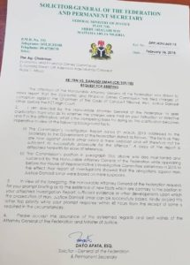 AGF Letter to EFCC Chair on CCT Boss 2018- PRNigeria