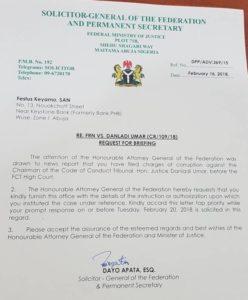 AGF Letter to Keyamo on CCT Boss- PRNigeria