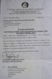 EFCC Letter Exonerating CCT Boss- PRNigeria