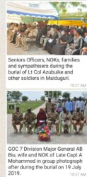Guests and troops at Military Cemetery in Maimalari Borno State