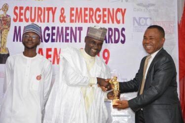 Representative of NCC Boss, Professor Danbatta receives SAEMA Golden Award on Crisis Communication in Abuja