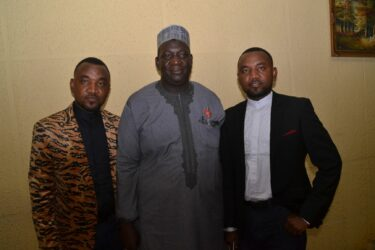 Mallam Zubhair with Police Twin brothers Hassan and Hussaini Gimba at SAEMA AWards 2019