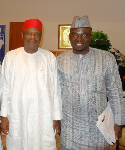 Governor Rabiu Musa Kwankwaso and Yushau Shuaib in Government House, Kano